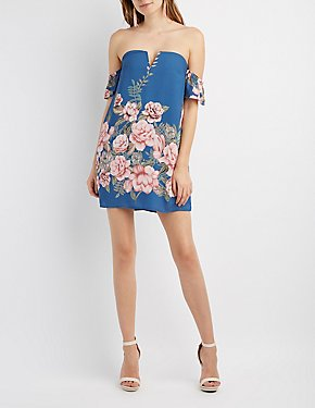 Floral Notched Off-The-Shoulder Dress
