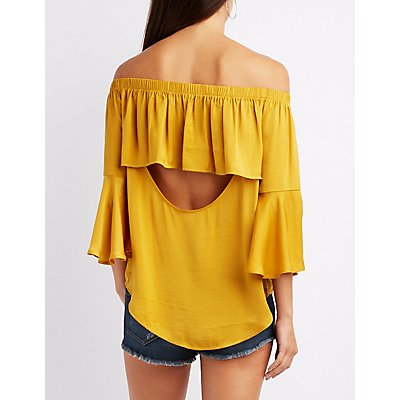 Satin Open Back Bell Sleeve Top