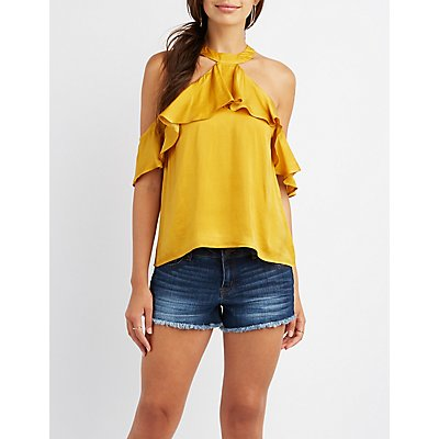 Ruffle Bib Neck Cold Shoulder Top