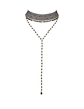 Mesh & Beaded Layered Choker Necklace