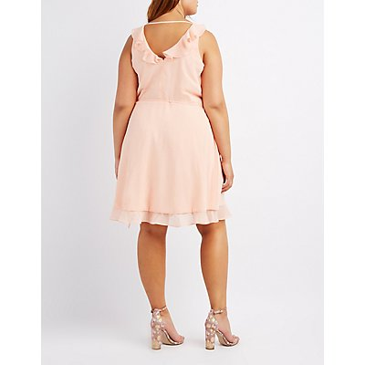 Plus Size Ruffle-Trim Wrap Dress