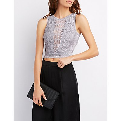 Lace Open Back Crop Top