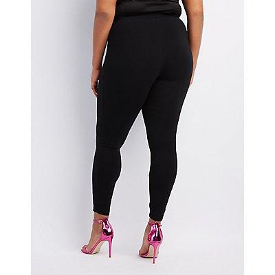 Plus Size Lace-Up High-Rise Leggings
