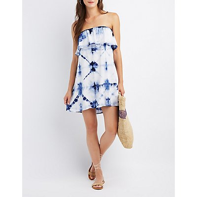 Tie Dye Strapless Ruffle Dress