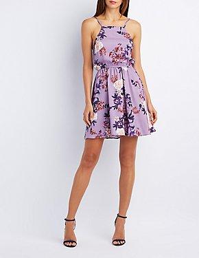 Floral Bib Neck Dress