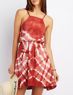Tie Dye Bib Neck Dress