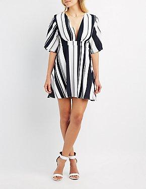 Striped Plunging Skater Dress