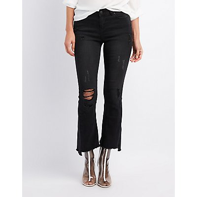 Distressed Flared Step Hem Jeans