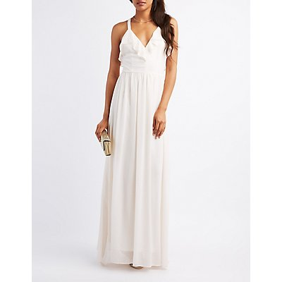Strappy Ruffle-Trim Maxi Dress