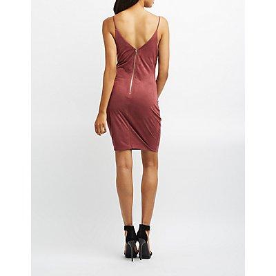 Faux Suede Cut-Out Bodycon Dress