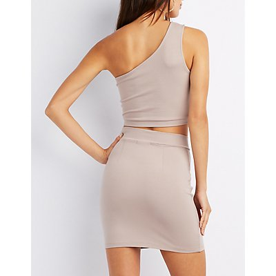 One-Shoulder Lace-Up Crop Top