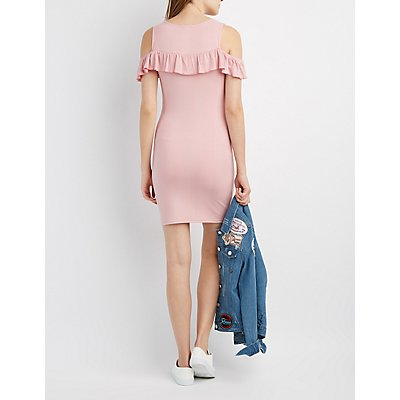 Ribbed Ruffle-Trim Cold Shoulder Dress