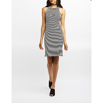 Ribbed Knit Striped Midi Dress