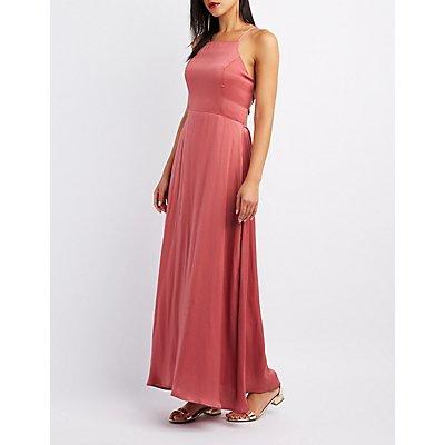 Lace-Up Back Bib Neck Maxi Dress