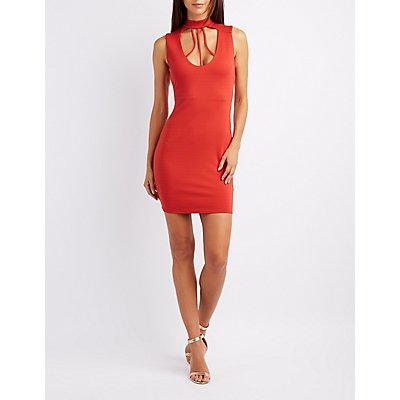 Mock Neck Caged Bodycon Dress