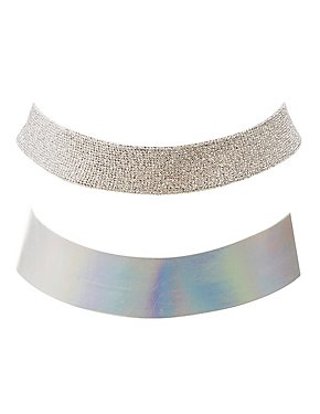 Holographic & Metallic Choker Necklaces- 2 Pack