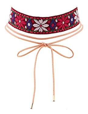 Floral Embroidered & Faux Suede Choker Necklaces - 2 Pack