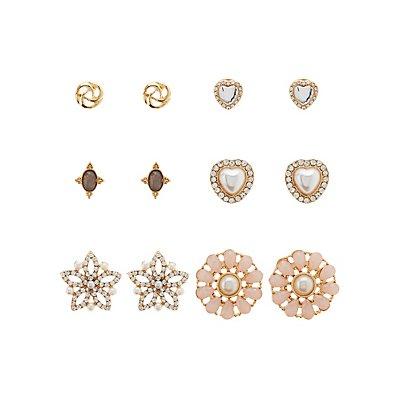 Embellished Stud Earrings -6 Pack
