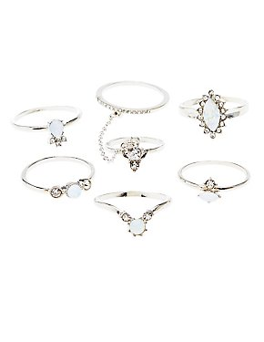 Facted Stone Stackable Rings - 6 Pack