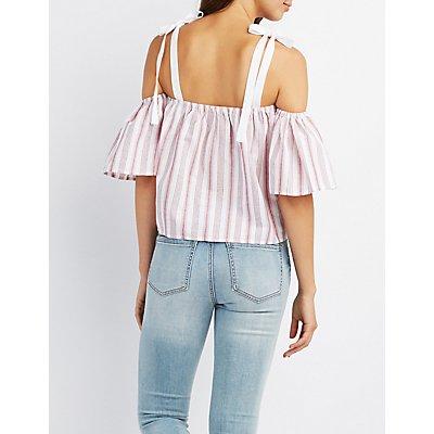 Striped Cold Shoulder Crop Top