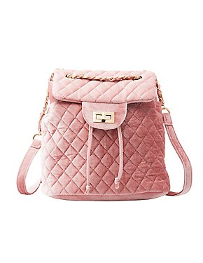Quilted Velvet Backpack