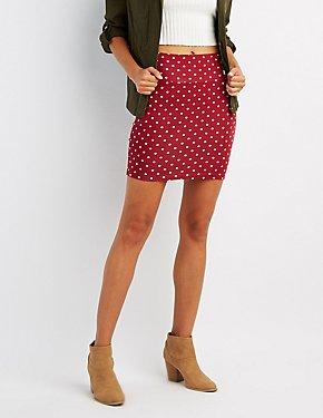 Polka Dot Bodycon Mini Skirt