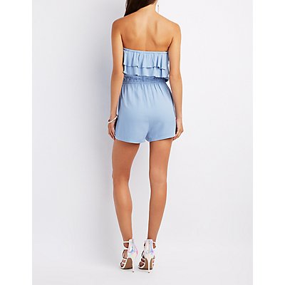 Tiered Strapless Romper
