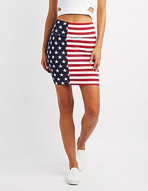 American Flag Bodycon Mini Skirt