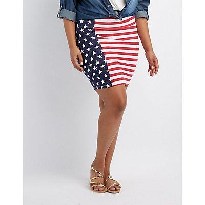 Plus Size Americana Bodycon Mini Skirt