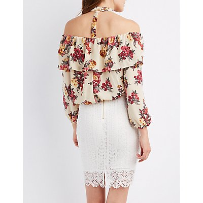 Floral Choker Neck Off-The-Shoulder Top