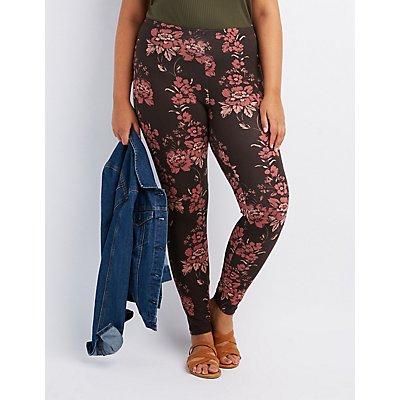 Plus Size Floral Stretch Cotton Leggings