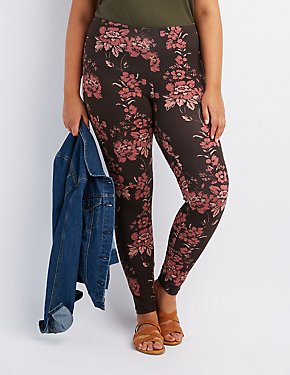 Plus Size Floral Stretch Cotton Leggings