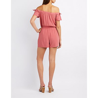 Gauze Off-The-Shoulder Romper
