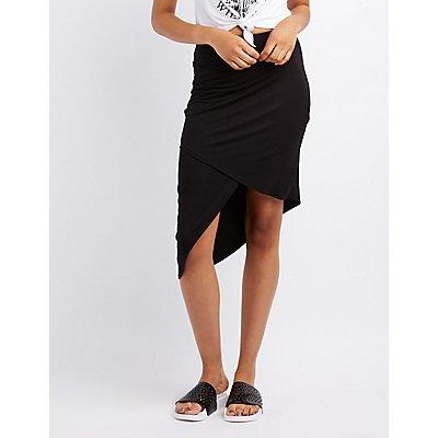 Ruched Asymmetrical Wrap Skirt