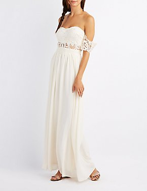 Lace & Chiffon Off-The-Shoulder Maxi Dress