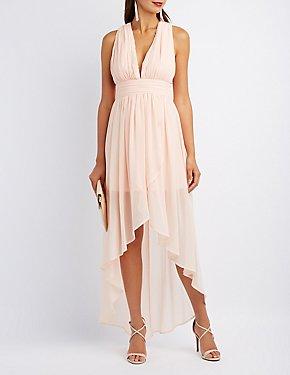 Twist Back High-Low Maxi Dress