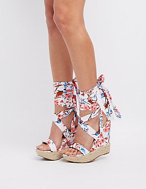 Floral Lace-Up Wedge Sandals