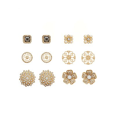 Embelished Stud Earrings -6 Pack