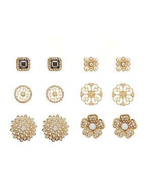 Embelished Stud Earrings -6 Pack