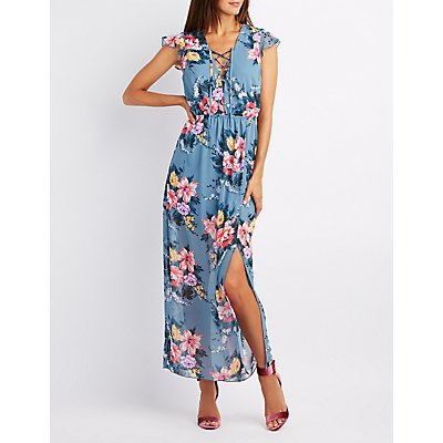 Floral Lace-Up Open Back Maxi Dress