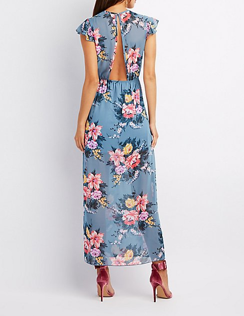 Floral Lace-Up Open Back Maxi Dress | Charlotte Russe