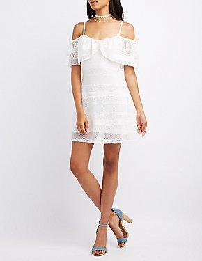 Lace Cold Shoulder Swing Dress