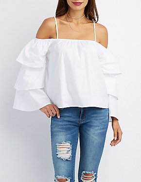 Tiered Bell Sleeve Cold Shoulder Top