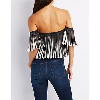 Pleated Off-The-Shoulder Bodysuit