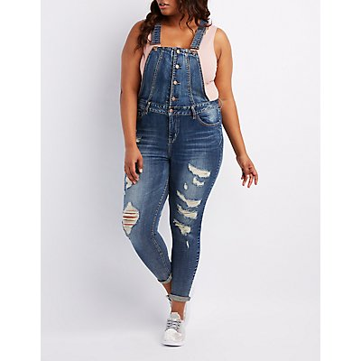 Plus Size Refuge Destroyed Denim Button-Up Overalls