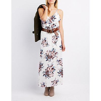 Floral Ruffle-Trim Maxi Dress