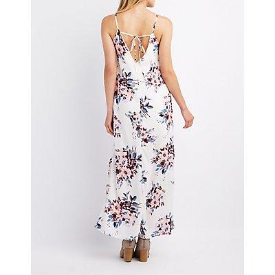 Floral Ruffle-Trim Maxi Dress