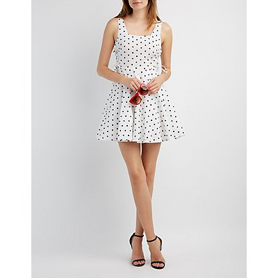 Polka Dot Lace-Up Skater Dress
