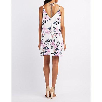 Floral Ruffle-Trim Tie-Front Dress