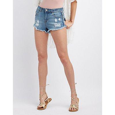 Girlfriend Destroyed Denim Shorts